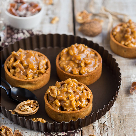 Tartelettes noix caramel menthe et poivre